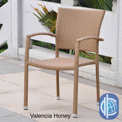International Caravan - International Caravan Barcelona Resin Wicker/Aluminum Outdoor Dining Chairs (Set - Enjoy an outdoor meal or just relax in the breeze with these modern wicker dining chairs. Each set contains four chairs featuring weather-resistant wicker woven onto an aluminum frame. Update the look of your patio with these attractive outdoor chairs.