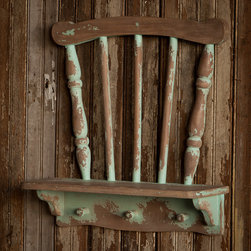 Repurposed Chair Shelf - Functional and charming, this repurposed chair shelf, with its heavily distressed green painted finish, is sure to make a statement in your vintage style home.