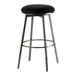 Hillsdale Furniture - Hillsdale Sanders Adjustable Backless 24-30 Inch Barstool in Pewter - Hillsdale Furniture's Sanders barstool is both versatile and efficient. With a 360 degree swivel seat, a choice of black finish with brown faux suede or pewter finish with black faux suede seat fabric, this stool is a perfect addition to your kitchen or bar. Even better, the Sanders can be used as a counter or bar height stool depending on the leg extension you choose. Constructed of Fully-welded heavy gauge metal. Minor assembly required.