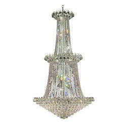 """PWG Lighting / Lighting By Pecaso - Brigitte 22-Light 36"""" Crystal Chandelier 6890G36C-EC - Drawing on the Empire style, the Brigitte Collection is transformed with a contemporary edge to create a dramatic explosion of brilliance. The Crystal Flush Mounts and smaller pendants provide a brilliant display of color bringing a decorative drama to any setting."""