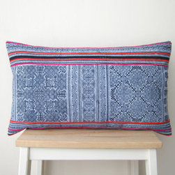 Hand-Block-Printed and Embroidered Hmong Cushion Cover by From Pas to Present - Throw some Hmong hand-blocked pillows into the mix on the bed, in the living area or on the banquette. They're must-haves in any boho interior.