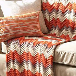 Crochet Chevron Afghan Throw By crochetlov - This crochet afghan looks so cozy and inviting. The orange, taupe and heather thing is totally working for me.