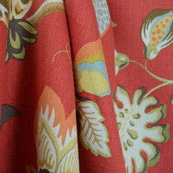 Duralee - Sangria Scarlet 42196 648 Linen Red Floral Fabric By The Yard - Kaufman pattern Sangria in the color Scarlet is also the Duralee patter 42196 in the color 648. This red floral linen drapery fabric is great for any window treatments plus some upholstery jobs.