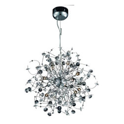 "PWG Lighting / Lighting By Pecaso - Geraldene 16-Light 28"" Crystal Chandelier 1761D28C-EC - The Geraldene Collection adds a touch of whimsy to interiors. Clusters of crystal flowers sparkle on delicately designed chrome finished frames."