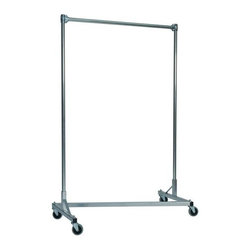 Z Racks - Heavy Duty Z-Rack Garment Rack w 48 in. Singl - Base Color: Silver. 500lb capacity. 14 gauge, 48 in. Long steel base (Environmentally safe powder coated finish). 16 gauge, 72 in. upright bars and hang rail. 1 5/16 outside diameter upright bars and hang rail. Grey non-marking soft rubber with TP center 4 in. casters. Made in the USA. Assembly Required. 51 in. L x 23 in. W x 79 in. HThis four foot Z-Rack, a multi-purpose clothing rack, is able to withstand just as much heavy use as its larger counterparts, but still fits easily into smaller spaces. The uprights still extend to a full six feet, providing a good amount of hanging space.