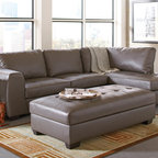 Coaster - Joaquin Grey Leather Sectional - This sleek contemporary sectional sofa will be a stylish addition to your living room. The plush overstuffed cushions will keep you cozy with a high polyester fiber filled back and modern tufted seat cushions. This comfortable sectional will blend beautifully with your decor, for a fresh look you will love. Add the optional matching ottoman to create a unique design for added comfort.