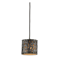 "Uttermost - Alita Metal Mini Drum Pendant - Put some panache in your pendant lighting with this metal wrapped drum pendant. This mini fixture is small enough for a grouping of three to ""decor-light"" your dining room table or foyer in rustic chic style."