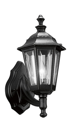 Progress Lighting - Progress Lighting Traditional Outdoor Wall Sconce X-13-6285P - This Progress Lighting outdoor wall sconce focuses entirely on classic and traditional details. The tapered body features a plethora of elegant details including classic finials, beveling and a gazebo-style roof. The clear beveled acrylic windows have been paired with a Black finish for a classic look.