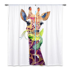 "DiaNoche Designs - Window Curtains Lined by Marley Ungaro Giraffe - Purchasing window curtains just got easier and better! Create a designer look to any of your living spaces with our decorative and unique ""Lined Window Curtains."" Perfect for the living room, dining room or bedroom, these artistic curtains are an easy and inexpensive way to add color and style when decorating your home.  This is a woven poly material that filters outside light and creates a privacy barrier.  Each package includes two easy-to-hang, 3 inch diameter pole-pocket curtain panels.  The width listed is the total measurement of the two panels.  Curtain rod sold separately. Easy care, machine wash cold, tumble dry low, iron low if needed.  Printed in the USA."
