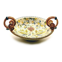 Artistica - Hand Made in Italy - Giglio: Round Bowl with Serpentine Handles - Giglio Collection.