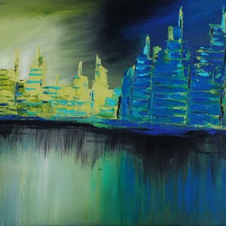 Blue reflections by Preethi: Original Large Modern Painting - Title: Blue reflections