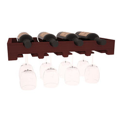"""Wine Racks America - 4 Bottle Scalloped Stemware Wine Rack in Redwood, Cherry Stain - This rock solid stemware rack installs between our modular wine cellar kits. A 20"""" span for hanging crystal or cellar decor. Designed to be installed over Wine Racks America's 48 Bottle Cube Collection, this rack is sure to please. Your satisfaction is guaranteed."""