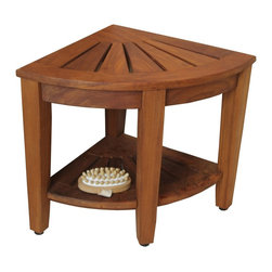 """Aqua Teak - 15.5"""" Teak Shower Bench with Shelf - From the Corner Collection - Built using our OptiArea� space saving design, this teak shower stool is made to fit in the corner of your shower or bathroom! This beautiful little teak corner shower seat is the perfect accent piece for your bathroom, patio, or poolside. Made in an elegant spa style, the teak shower stool is designed to be both convenient and aesthetically appealing. Naturally water resistant, the teak shower bench includes all stainless steel hardware and adjustable rubber padded feet for safety, stability, and durability. This teak bath bench also features a handy shelf for additional storage. We are so confident that you will love your teak shower bench that we offer a no hassle 30 day satisfaction guarantee and 5 year warranty on all of our products! (Some assembly required) Dimensions: 15.5""""w x 16.5""""h x 15.5""""d"""