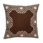 Squarefeathers - Exotic, Graphic Brown Pillow - The Exotic Collection is perfect for a large room with multiple furniture pieces. The brown tone color scheme is neutral for open areas. Made of faux linen print design applique with a knife edge trim. It has a soft and pump feataher/down insert inclosed with a zipper. Like all of our products, this pillow is handmade, made to order exclusively in our studio right here in the USA.
