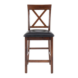 Jofran - Jofran Olsen X-Back Counter Stool with Faux Leather Seat [Set of 2] - The Olsen counter height stool is constructed using solid Asian hardwood and oak veneers for strength and durability and given a popular oak finish.