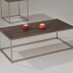 """Acme Furniture - Cecil Coffee Table in Walnut and Brushed Nickel - Cecil Coffee Table in Walnut and Brushed Nickel; Finish: Walnut & Brushed Nickel; 17mm MDF in Walnut PVC Veneer (Hot Press PVC); Materials: Metal, MDF, PVC; Weight: 37 lbs; Dimensions: 52"""" x 24"""" x 17""""H"""