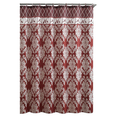 "Shower Curtain- Brookdale Red Embossed Microfiber - 72""x 72"" - Brookdale Red Embossed Microfiber Shower Curtain- 72""x 72"""