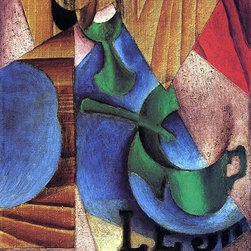 """Juan Gris Glass, Cup and Newspaper - 16"""" x 24"""" Premium Archival Print - 16"""" x 24"""" Juan Gris Glass, Cup and Newspaper premium archival print reproduced to meet museum quality standards. Our museum quality archival prints are produced using high-precision print technology for a more accurate reproduction printed on high quality, heavyweight matte presentation paper with fade-resistant, archival inks. Our progressive business model allows us to offer works of art to you at the best wholesale pricing, significantly less than art gallery prices, affordable to all. This line of artwork is produced with extra white border space (if you choose to have it framed, for your framer to work with to frame properly or utilize a larger mat and/or frame).  We present a comprehensive collection of exceptional art reproductions byJuan Gris."""
