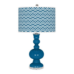 "Color Plus - Contemporary Mykonos Blue Narrow Zig Zag Apothecary Table Lamp - This apothecary style Color + Plus™ glass table lamp will infuse your decor with brilliant color and style. This beautiful Mykonos Blue designer lamp is hand-crafted by experienced artisans in our California workshops. It stands on a lucite base and is topped with a custom made-to-order shade that features a Narrow Zig Zag pattern in rich color tones that complement the base hue. U. S. Patent # 7347593. Designer Mykonos Blue glass table lamp. Narrow Zig Zag pattern giclee-printed shade. Custom made-to-order translucent drum shade. Lucite base. Maximum 150 watt or equivalent bulb (not included). On/off switch. 30"" high. Shade is 16"" across the top 16"" across the bottom 11"" high.  Designer Mykonos Blue glass table lamp.  Narrow Zig Zag pattern giclee-printed shade.  Custom made-to-order translucent drum shade.  Lucite base.  Maximum 150 watt or equivalent bulb (not included).  On/off switch.  30"" high.   Shade is 16"" across the top 16"" across the bottom 11"" high."