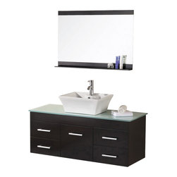"Design Element - Design Element Madrid Espresso Wall-Mount Single Vessel Vanity Set - 48"" - The Madrid 48"" Vanity set is elegantly constructed of solid hardwood. The tempered glass counter tops natural aqua color brings a clean and contemporary look to any bathroom. Seated at the base of the ceramic designer sink is a chrome finished pop up drain designed for easy one touch draining. A full size mirror with matching espresso accent shelving is included. Built into the vanity are four drawers and a soft closing cabinet. The Madrid Bathroom Vanity is designed as a center piece to awe-inspire the eye without sacrificing quality, functionality or durability."