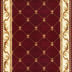"""Kas - Fleur-De-Lis Red Corinthian Oriental 3'3"""" x 4'11"""" Kas Rug  by RugLots - Our Corinthian series is machine-woven in China of 100% heat-set polypropylene and hand-carved with specific attention to detail. This line features classic Aubusson floral patterns, a look usually found only in traditional hand-knotted collections. This timeless classic has been designed with today"""