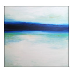 Large Abstract Painting on Canvas Modern Acrylic Skyline- 40x40- Blues, White, G - Each painting is unique and hand painted.  Design might slightly vary.