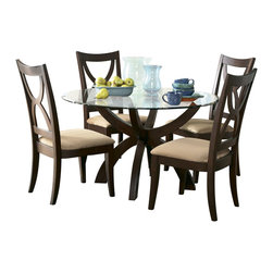 "Homelegance - Homelegance Stardust 5-Piece Round Glass Dining Room Set in Espresso - Dress up your casual dining area with Stardust collection. dining table is available in two versatile sizes. The stunning rectangular table features a 72"" length glass top on a rich espresso finish Solid wood table base. Short on space? Fill a smaller dining space with big style with 48"" round table. Rich espresso finish chair with microfiber cushion seat adds an understated elegance, bringing the whole look together."