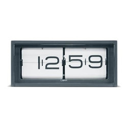 "Brick Alarm Clock by Erwin Termaat for Leff, Gray Steel Case - Classic gets a modern makeover; Erwin Termaat brings the timeless flip clock paradigm into modernity, while losing none of its simplicity and beauty. Leff Brick alarm Clock it's a premium and indeed heavyweight item, around 14"" across and made of stainless steel, with a 'silent' Japanese Quartz Movement inside. But that's only half the table, the stainless steel case is hand welded and brushed which gives this clock a unique touch of top notch craftsmanship. This clock can be displayed on a desk or hung to the wall.."