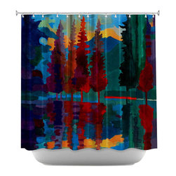 DiaNoche Designs - Shower Curtain Artistic - Colorado Sunset - DiaNoche Designs works with artists from around the world to bring unique, artistic products to decorate all aspects of your home.  Our designer Shower Curtains will be the talk of every guest to visit your bathroom!  Our Shower Curtains have Sewn reinforced holes for curtain rings, Shower Curtain Rings Not Included.  Dye Sublimation printing adheres the ink to the material for long life and durability. Machine Wash upon arrival for maximum softness. Made in USA.  Shower Curtain Rings Not Included.