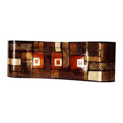 Jasmine Art Glass - 28In Center Platter 20606 - A 28 inch fused glass platter featuring geometric shapes in brown, gold and red, with perforated looks, and hand painted metallic gold finish details