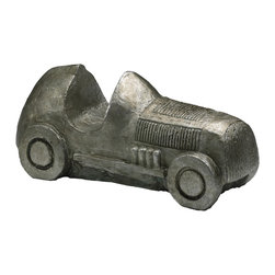 "Kathy Kuo Home - ""Monopoly"" Automobile Game Token Sculpture - Rev up your engines and prepare your shelves for a whimsical tour de force - a cast metal racing car with lots of rustic, vintage appeal."