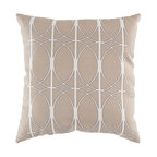 """Surya - Geometric Design Square Pillow ZZ-410 - 13"""" x 20"""" - Fashion an aesthetically pleasing and gallantly geometric look for your space with this pristine pillow. As graphic as it is glamorous, this piece offers a geometric design in bold beige juxtaposing bold lines and smooth circles . This pillow provides a reliable and affordable solution to updating your indoor or outdoor decor."""