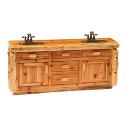Fireside Lodge Furniture - Cedar 5 Drawer Log Vanity (Liquid Glass) - Finish: Liquid GlassCedar Collection. 5 Drawers. 2 Storage cabinets. All drawer fronts and doors are inset. All hinges are concealed European style for a clean uncluttered look. Full-extension ball-bearing glides rated to 100 lbs.. Northern White Cedar logs are hand peeled to accentuate their natural character and beauty. Clear coat catalyzed lacquer finish for extra durability. Liquid glass finish helps prevent scratches and denting in the wood on highly used surfaces and protect against standing water around the vanity. 2-Year limited warranty. 72 in. W x 21 in. D x 33 in. H (150 lbs.)