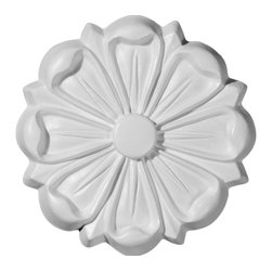 "Ekena Millwork - 6 1/2""OD Stockport Rosette - 6 1/2""OD Stockport Rosette. Our rosettes are the perfect accent pieces to cabinetry, furniture, fireplace mantels, ceilings, and more. Each pattern is carefully crafted after traditional and historical designs. Each piece comes factory primed and ready for your paint. They can install simply with traditional adhesives and finishing nails."