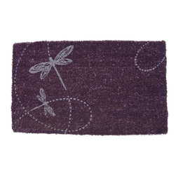 None - Dragonflies Purple Coir Doormat (17x28-inch) - This distinctive doormat is hand-stenciled with permanent,fade-resistant dyes to hold its vivid purple color. Made of coir to effectively trap dirt,this doormat features a whimsical butterfly pattern.