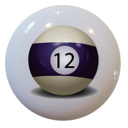 Carolina Hardware and Decor, LLC - Billiards 12 Pool Ball Ceramic Knob - New 1 1/2 inch ceramic cabinet, drawer, or furniture knob.  Mounting hardware included.   Can be wiped clean with a soft damp cloth. Great addition and nice finishing touch to any room!