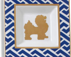 Dog Ceramic Square Plate, Navy - A blue and white foo dog ceramic plate is perfect for the desk, bedroom, bathroom and more!