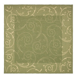 Safavieh - Indoor/ Outdoor Oasis Olive/ Natural Rug (7'10 Square) - Its elegant, curving abstract design and moss green background make this indoor-outdoor area rug a welcome addition to your patio, entryway, or other transitional area. Works well to tie together a seating area or as the setting for a table and chairs.