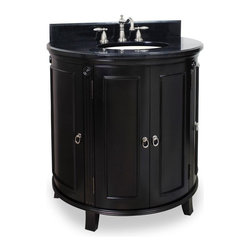 """Hardware Resources - Jeffrey Alexander Demi-Lune Vanity with Preassembled Top and Bowl in Espresso - This 33 1/4"""" wide solid wood vanity's curved demi lune shape is taken from classic Art Deco furniture. Carved rosettes and fluted detailing add to the deco appeal with a warm espresso finish. A large cabinet with two pull out drawers provide ample storage with side shelves that give additional storage. This vanity has a 2.5CM black granite top preassembled with an H8809WH (15"""" x 12"""") bowl cut for 8"""" faucet spread and corresponding 2CM x 4"""" tall backsplash."""