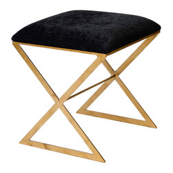 "Worlds Away Black Velvet With Gold Leaf X Base Stool - ""x"" side stool in gold leaf with black velvet top."