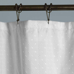 Square Jacquard Polyester Shower Curtain - White - This polyester shower curtain is the perfect addition to your clawfoot tub enclosure, or to your extra-long neo-angle or corner shower setup. The square jacquard detail features a multi-faceted design element, and blends well with any decor.
