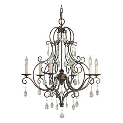 Feiss - Chateau Six-Light Chandelier - Both delicate and detailed, this chandelier offers a look of true beauty.  Its graceful ensemble of square scrolls is handsome in a mocha bronze finish, and the hand polished glass crystals lend admirable elegance.  Inspired by the grand chateaus of southern France, this piece promises to immerse your room in a sophisticated aura.  Please note that it includes 5? of chain.   Feiss - F1902/6MBZ
