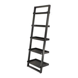 Winsome Wood - Winsome Wood Bailey Leaning Shelf 5-Tier with Black Finish X-52592 - Modern design Shelf.  Leaning against to the wall.  Neat and simply design yet functioning. It can be matched with Leaning Desk# 29330 and Airlift Stool # 93329