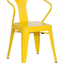 Chintaly Imports - Alfresco Galvanized Steel Side Chair in Yellow - Set of 4 - Alfresco Galvanized Steel Side Chair in Yellow - Set of 4