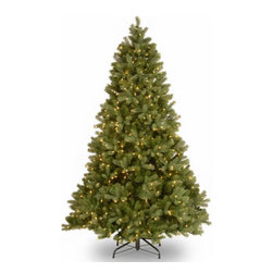 7 Ft. Feel-Real Douglas Fir Christmas Tree with 700 Clear Lights - Measures 7 feet tall with 55 inch diameter. Features FEEL-REAL branch tip technology for remarkable realism! Pre-lit with 700 UL listed, pre-strung clear lights. Tip count: 1539. All metal hinged construction (branches are attached to center pole sections). Comes in three sections for quick and easy set-up. Includes sturdy folding metal tree stand. Light string features BULB-LOCK to keep bulbs from falling out. If one bulb burns out the others remain lit. Fire-resistant and non-allergenic. Includes spare bulbs and fuses. 5-year tree warranty / 2-year lights warranty. Packed in reusable storage carton. Assembly instructions included.