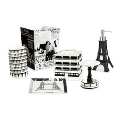 Creative Bath Products - Passport Waste Basket - The stylish black and white designs of the Passport bath accessories will transport you to another city across the globe. These inspiring pieces are made of durable resin. Coordinate with the other Passport bath accessories and towels for a finished look.