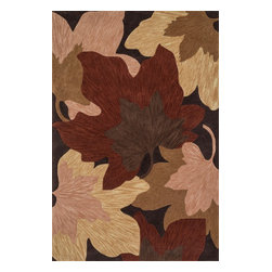 """Loloi Rugs - Loloi Rugs Flora Collection - Brown / Beige, 7'-10"""" x 11'-0"""" - Flora reinterprets floral prints into bold, over scaled botanicals, with soft touches of color throughout. Hand tufted in China, each rug features gorgeous abrashes details in the design, mimicking the natural imperfections seen in real florals. Hand carved detailing also serves to enhance the pattern. And because Flora is crafted with 100% polyester, shedding is very limited and colors remain strong for years."""