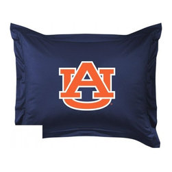 Sports Coverage - Auburn Tigers Locker Room Collection Pillow Sham - Show your team spirit with this officially licensed 25 x 31 Auburn Tigers sham. There is a 2 flanged edge that decorates all four sides of each Auburn NCAA sham. Made of 100% polyester jersey mesh, just like the players wear, with screen printed Auburn Tigers logo in the center. Envelope closure in back. Fits standard pillow. Coordinates with Auburn Locker Room Collection. 3 overlapping envelope closure is on back.