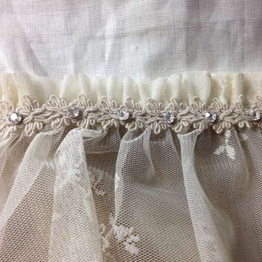Linen Panel Trim with Crystals - White linen panels with  taupe linen covered in lace,  taupe trim with crystals seperating both