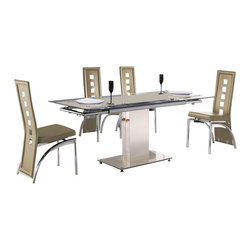 "American Eagle Furniture - 244DT & 104CH Beige Glass Top Table & Beige Vinyl Chairs 5 Piece Dining Set - The 244DT & 104CH dining set is a great addition for any dining room that needs a touch modern design. The dining table has a glass table top with beige printed strip down the middle. The table comes in a standard 49"" length but can be extended up to 71"" for larger gatherings. The frame of the table features polished stainless steel single column design with a matching polished square steel base. The chairs come upholstered in a stunning beige vinyl material with high density foam placed within the cushion for added comfort. The chairs have a unique open square design on the back that adds to the overall look. The frame of the chairs are crafted from polished stainless steel with the backrests extending down to the legs. The dining set consist of a dining table and four chairs only."